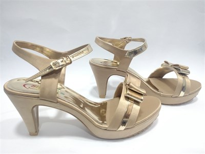Beige Buckle High Heel Sandals