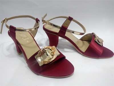 Maroon Buckle Heels Sandals