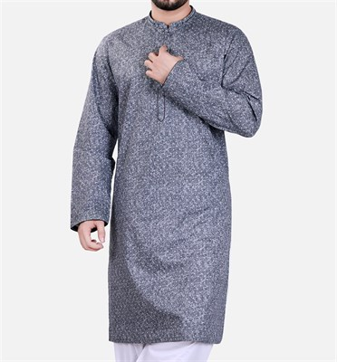 Designer Printed Kurta with White Shalwar Suit (Made on Order)