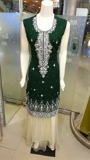 Dark Green with Offwhite Lehenga